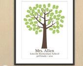 DIY Teacher Appreciation Fingerprint Keepsake Printable PDF -  11x14 printable design
