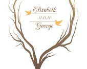 Wedding Tree Guest Book -  Heart Shaped Tree with Love Birds - 20x30 - 200 Signature Thumbprint Poster