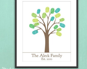 DIY Personalized Thumbprint Family Tree - Printable pdf Family Art Project