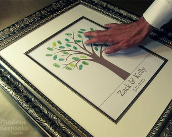 Guest Book Wedding Tree - Traditional Finger Print Tree  -  11x14 - 50 Signature Guestbook Keepsake Poster