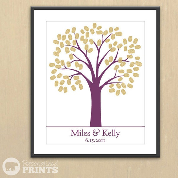 Traditional Wedding Tree - Finger Print Guest Registry Print -  16x20 - 100 Signature Guestbook Keepsake Poster