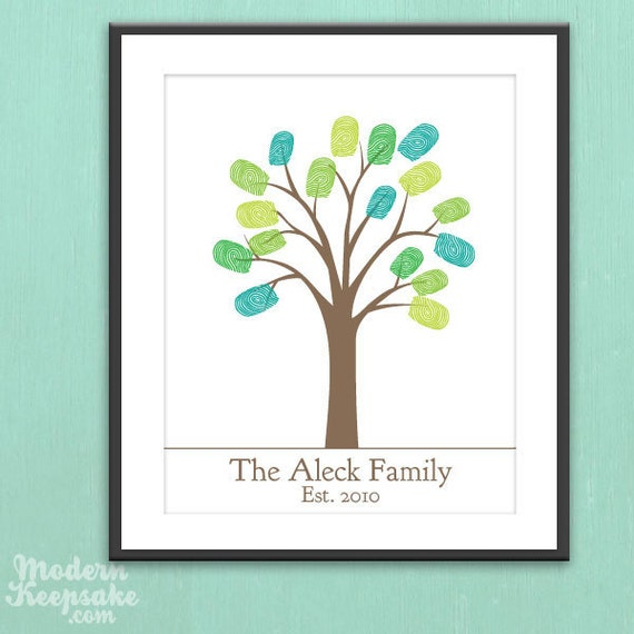 DIY Personalized Thumbprint Family Tree - Printable pdf Family Art Project