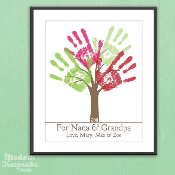 Grandparents Holiday Gift - DIY Personalized Child's Handprint Tree - Printable pdf Kids Craft Project