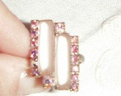 Fabulous Pink Frosted Glass& Aurora Borealis Art Deco Ring