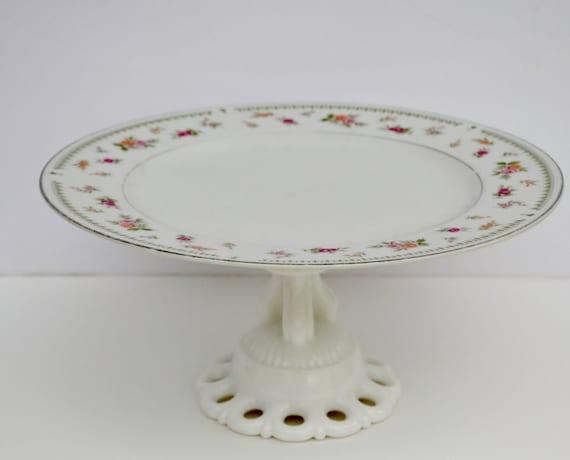 Cake plate White shabby chic cake stand