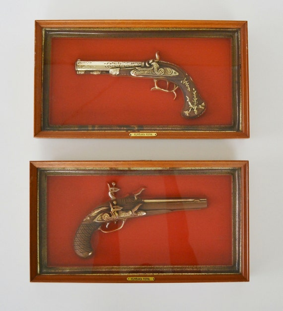 Vintage shadow boxes of Replica Flintlock Pistols Framed Wall Hanging set of 2