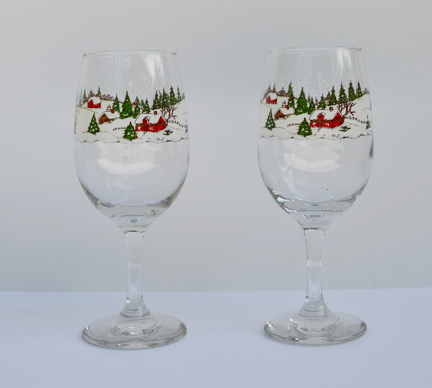 Christmas Tree Drinking Water: Vintage Christmas Wine Glasses Vintage Christmas Drinking