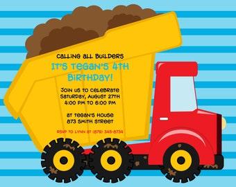 Printable Dump Truck Birthday Party Invitation