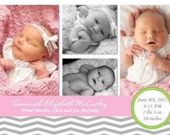 Sweet and Simple Chevron Birth Announcement