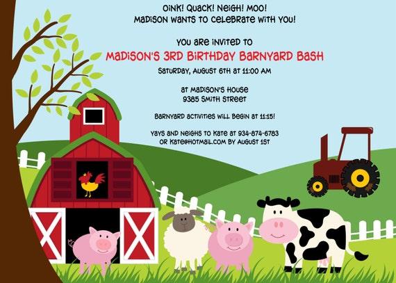 Barnyard Bash Birthday Invitation