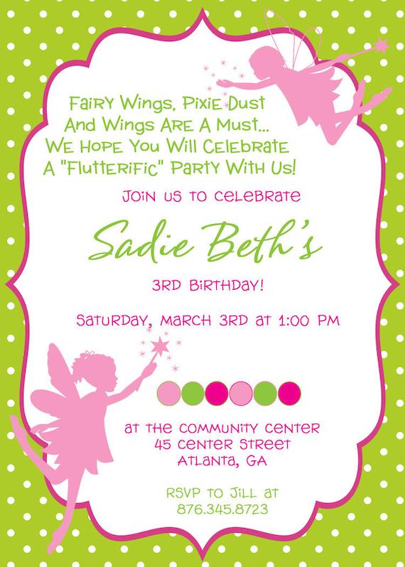 items similar to fairy princess birthday party invitation