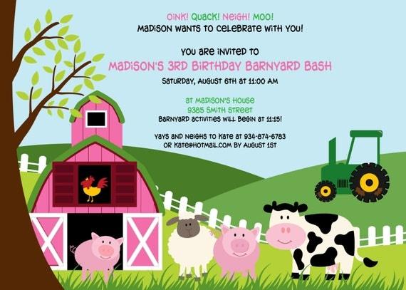 Pink Barnyard Party Invitation