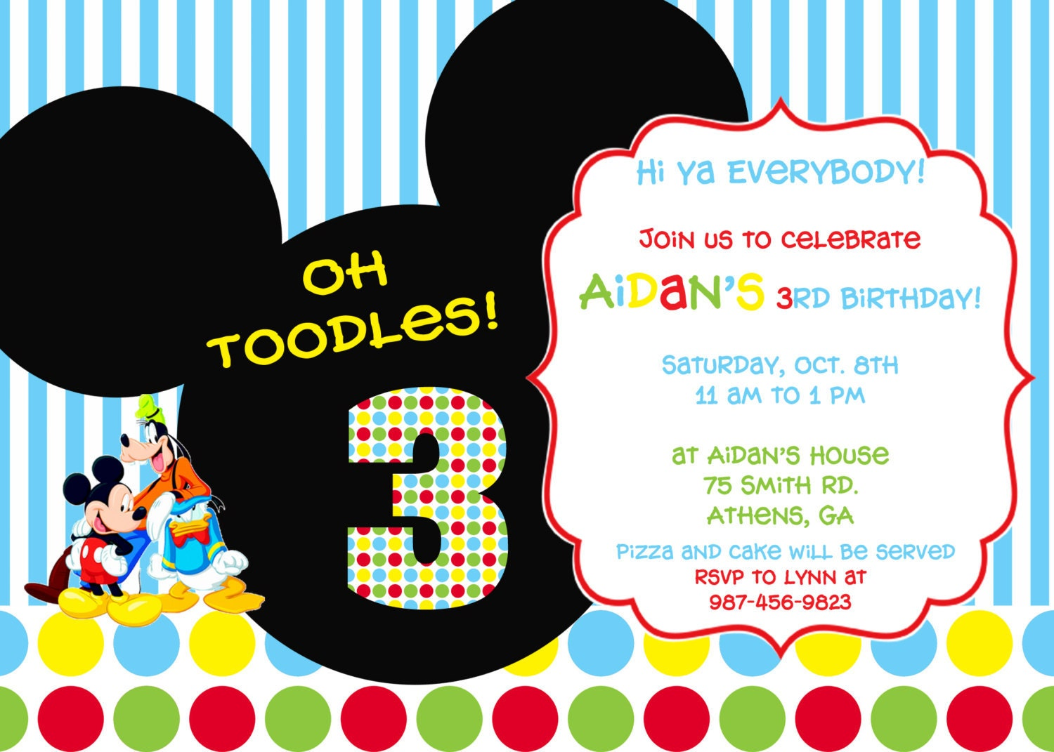 colorful mickey mouse clubhouse party invitation, Party invitations