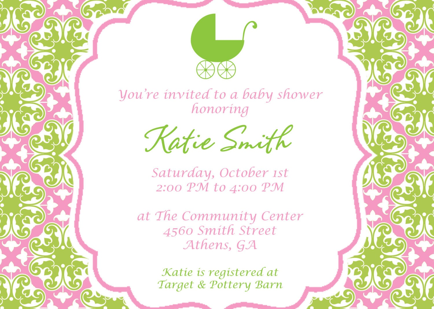 printable pretty in pink and green baby shower by cohenlane