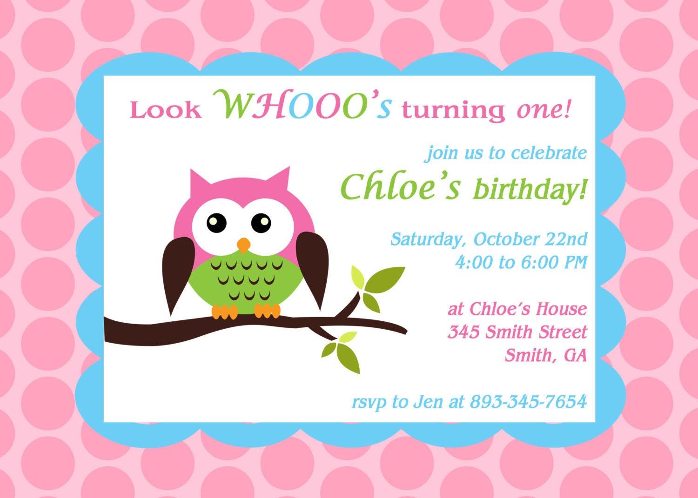 Printable Owl theme birthday party invitation – Owl Birthday Invitations