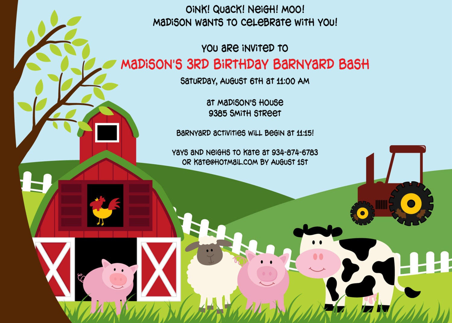 Printable Farm Animals birthday party invitation by cohenlane