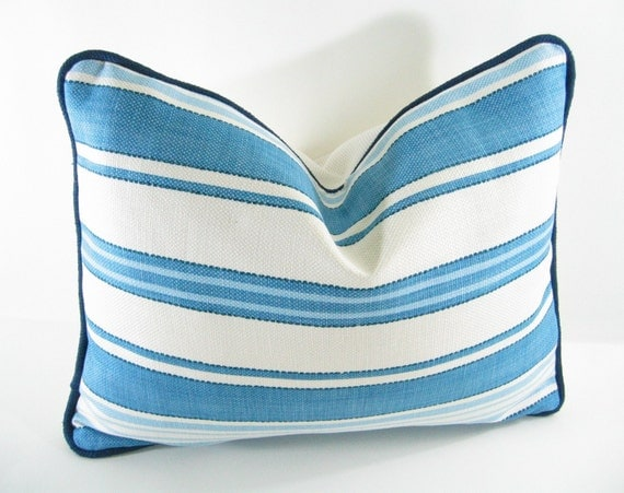 "BLUE WHITE LUMBAR Pillow Cover - 12"" X 20"" Contrasted w/a Raw Silk Navy Blue Welt"
