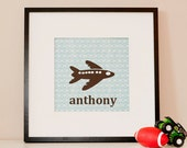 Modern Children's Paper Wall Art - Airplane up in the Air or Personalized - 12 x 12 - Blue and Brown or Custom Color