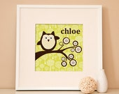"""Reserved Listing for Lara Hinton - Woodland Owl on a Branch or Personalized- 12x12"""" with 20x20"""" white frame"""