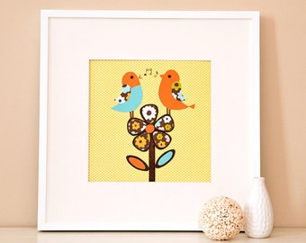 Modern Children's Paper Wall Art - Birds Singing on a Flower - 12 x 12 -  Green and Blue or Custom Color