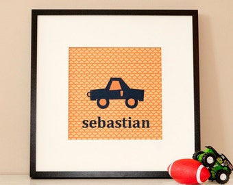 Modern Children's Paper Wall Art - Car Goes Vroom or Personalized Car Goes Vroom - 12 x 12 - Orange and Blue or Custom Color