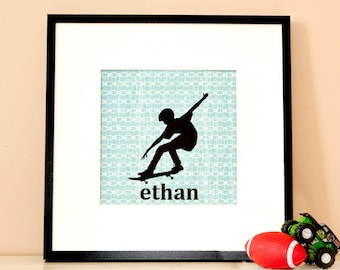 Modern Children's Paper Wall Art - Skateboarder in Action Silhouette 2 or Personalized - 12 x 12 - Blue and Brown or Custom Color