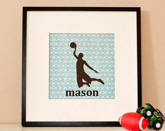 Modern Children's Paper Wall Art - Basketball Player Silhouette 2 or Personalized - 12 x 12 - Blue and Brown and Custom Color