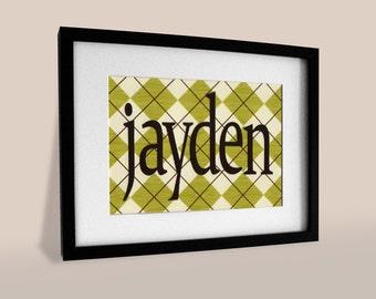"""Custom Handmade Personalized Boys Name in Frame - 8"""" x 10"""" Framed - Custom Color - Children Paper Wall Art"""