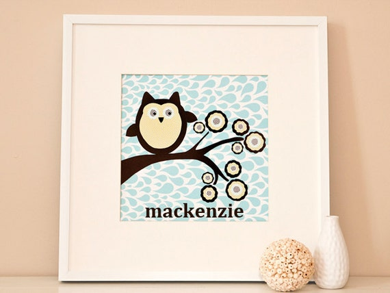 Modern Children's Paper Wall Art - Woodland Owl on a Branch or Personalized - 12 x 12 - Blue and Brown or Custom Color