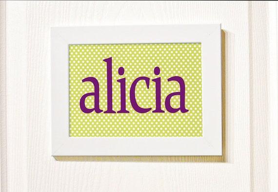 """Custom Handmade Personalized Girls Door Name in Frame - 9"""" x 7"""" Framed - Custom Color - Children Paper Wall Art"""