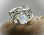 Small Moon - tiny silver plated wire ear cuff with moonstone