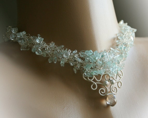 Lady of the Lake - crocheted wire and aquamarine necklace
