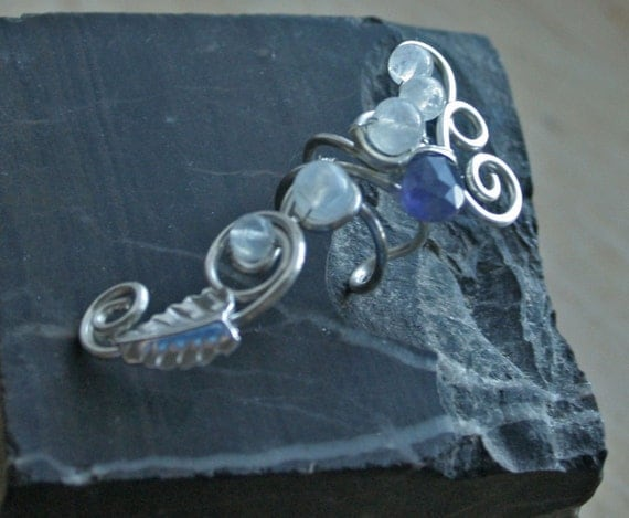 Nightdrop - sterling silver left sided wire ear cuff with rainbow moonstone and iolite teardrop bead