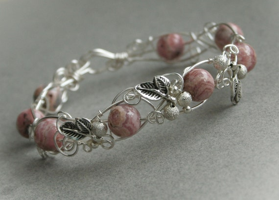 Sweet Day - vintage rose color rhodochrosite silver plated wire wrapped bangle bracelet