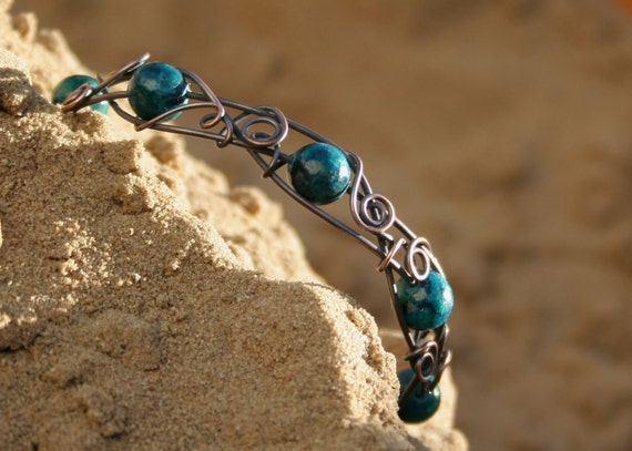Blue & Green - romantic chrysocolla and copper wire wrapped bangle bracelet