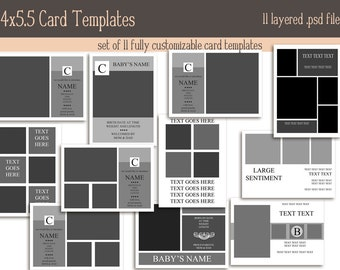 Card Template pack 4x5.5in INSTANT DOWNLOAD