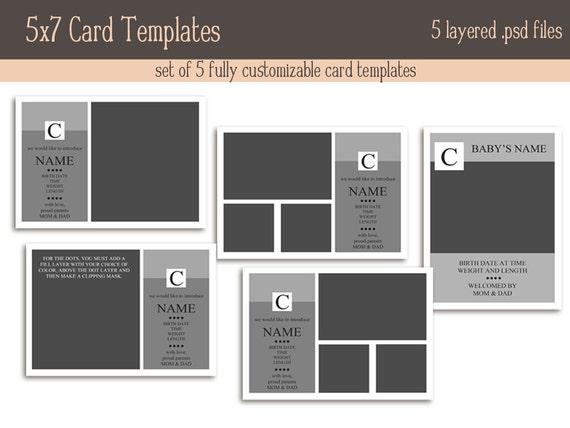 5x7 card templates monogram set. Black Bedroom Furniture Sets. Home Design Ideas