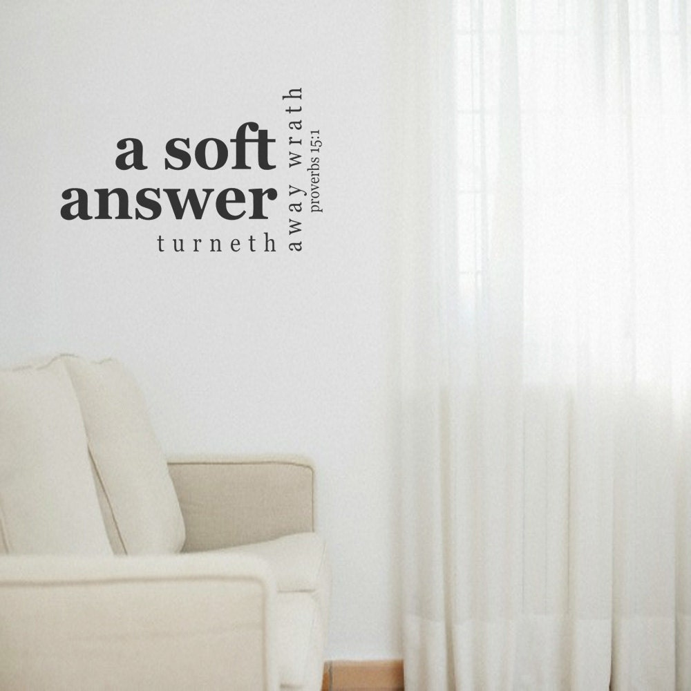 Bible Verse Vinyl Wall Decal A Soft Answer by LivingCreatively