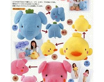 Large Elephant, Chicken & Pig Plush Sewing Pattern PDF