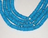 """SALE Chalk turquoise 10mm disk beads 5"""" strand"""
