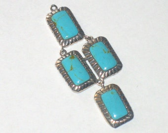 SALE turquoise sterling silver 44x18mm 1 pair earrings