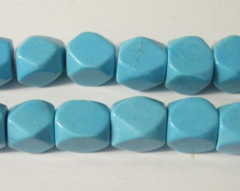 SALE turquoise faceted 15x13 beads-4 beads