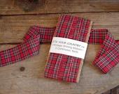 Red Plaid Ribbon Vintage Shirting Fabric Shabby Frayed Trim Embellishment 5 yards itsyourcountry