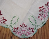 Unique Vintage Floral Hand Embroidered Dresser Scarf with Crocheted Edge TREASURY ITEM