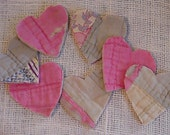 Shabby Prim Tattered Heart Appliques Embellishments from Upcycled Vintage Feed Sack Cutter Quilt 4 Crafting Cardmaking Valentine's Day