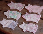 Pink Pig Appliques Patchwork Fabric Piggies Cutter Quilt Appliques Vintage Primitive Shabby Embellishments itsyourcountry