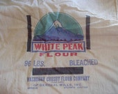 Vintage Flour Sack General Mills White Peak Fabric Flour Bag Rustic Farmhouse Shabby Primitive Grain Bag