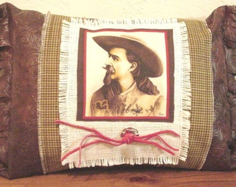 Western Cowboy Pillow Faux Leather Buffalo Bill Cody Home Decor Pillow with Concho itsyourcountry