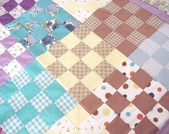 "Vintage Quilt Top, Feedsack 16 Patch Scrap Patchwork Quilt Top, 51"" x 67"" Farmhouse Cottage Chic Home Decor itsyourcountry"
