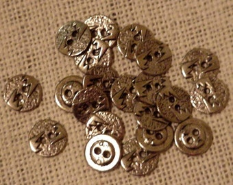 Southwest Metal Buttons Antique Silver Look Textured Western Metal Buttons Tribal Steampunk 2-Hole set of 8 itsyourcountry